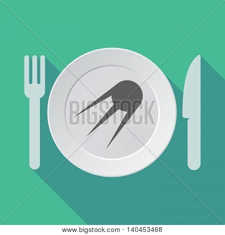 Long Shadow Tableware Vector Illustration With A Vintage Satellite