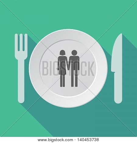 Long Shadow Tableware Vector Illustration With A Heterosexual Couple Pictogram