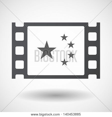 Isolated 35Mm Film Frame With  The Five Stars China Flag Symbol
