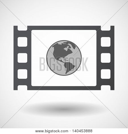 Isolated 35Mm Film Frame With An America Region World Globe