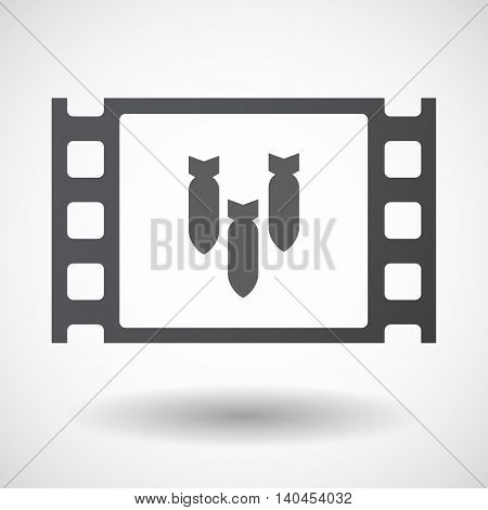 Isolated 35Mm Film Frame With Three Bombs Falling