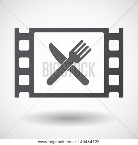 Isolated 35Mm Film Frame With A Knife And A Fork