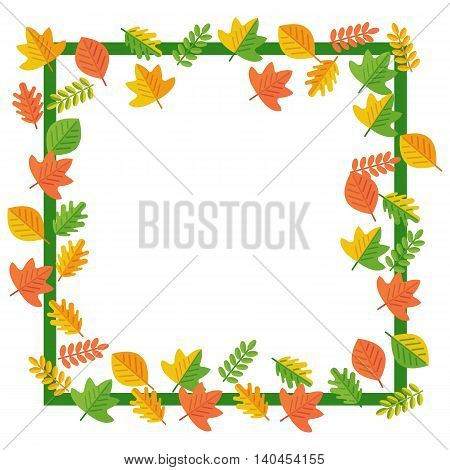 Frame with autumn leaves. Textures, backgrounds and templates for promotional materials and fabrics. Cartoon flat vector illustration. Objects isolated on a white background.