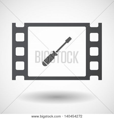 Isolated 35Mm Film Frame With A Screwdriver
