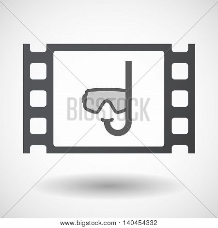 Isolated 35Mm Film Frame With A Diving Goggles
