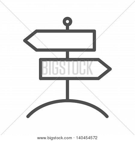 Signpost thin line vector icon on white background.