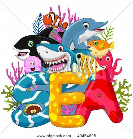 collection of Sea life cartoon for you design