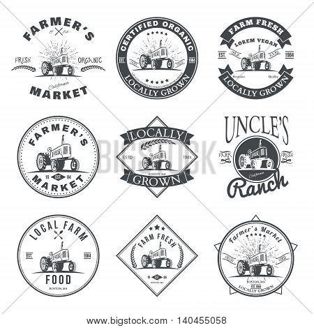 Set of retro farm fresh labels, badges and design elements. Vector illustration