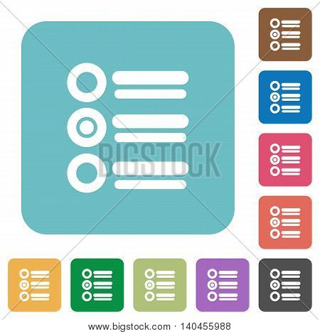 Flat radio group icons on rounded square color backgrounds.