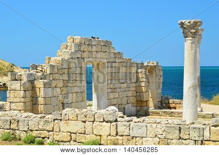 Ruins of an Ancient Greek temple in Chersonese