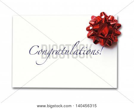 Congratulations card with bow, isolated on white background.
