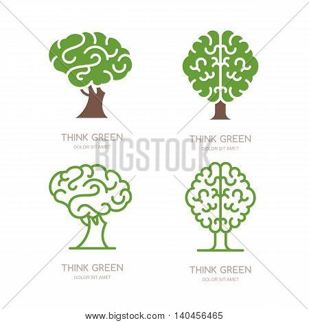 Set Of Vector Logo, Icon, Emblem Design With Brain Tree. Think Green, Eco, Save Earth And Environmen