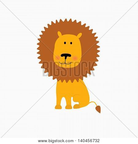 illustration of Lion cartoon.Vector. Isolated on white background.