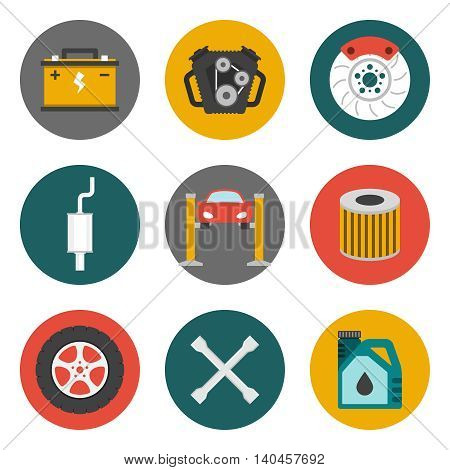 Auto Service Icons Flat. Car repair service icons