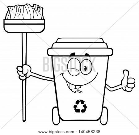 Black And White Winking Recycle Bin Cartoon Mascot Character Holding A Broom And Giving A Thumb Up