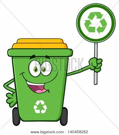 Cute Green Recycle Bin Cartoon Mascot Character Holding A Recycle Sign. Illustration Isolated On White Background
