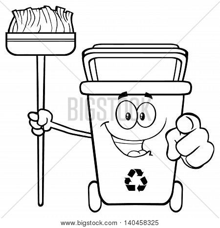 Talking Black And White Recycle Bin Cartoon Mascot Character Pointing To A Open Lid. Illustration Isolated On White Background