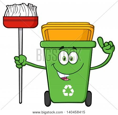 Talking Green Recycle Bin Cartoon Mascot Character Pointing To A Open Lid
