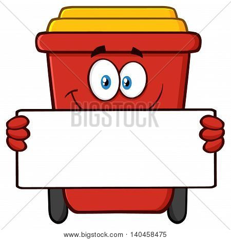Smiling Red Recycle Bin Cartoon Mascot Character Holding A Blank Sign