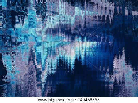 blue blurred abstract background texture with stripes. glitches distortion on the screen broadcast digital