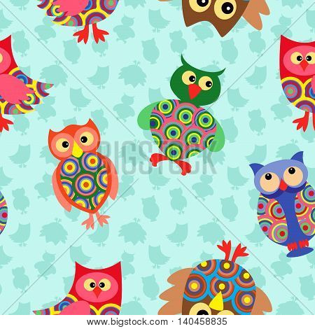 Likable colourful stripy owls on the background with many stylized simple owls seamless vector pattern