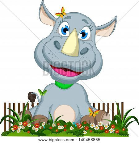 funny baby rhino cartoon in the flower garden