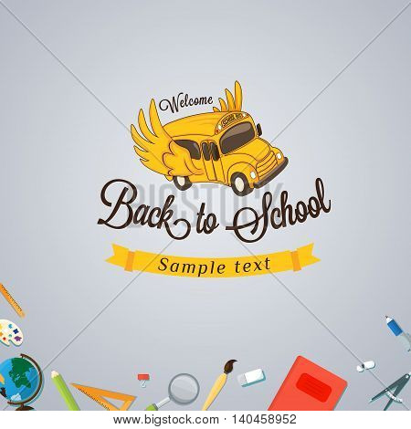 Welcome back to school. Vector Eps10 illustration.