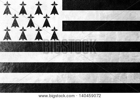 Flag Of Brittany, France, Painted On Leather Texture