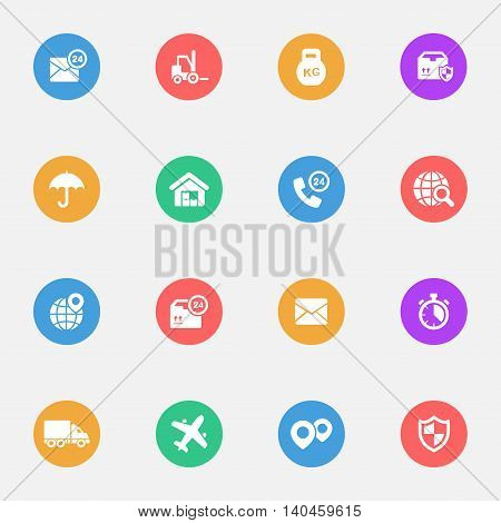 Logistics flat icons on the color substrate set