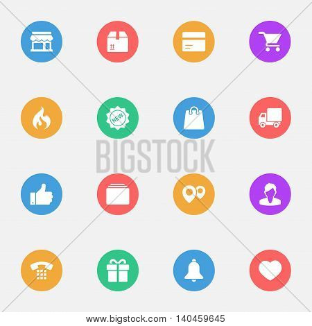 Shopping cart icons on the color substrate set