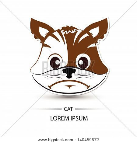 Cat Face Frown Logo And White Background Vector