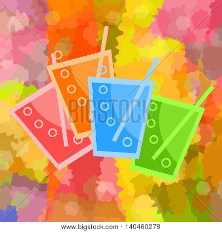 Drinks, cocktails, juices or soda with straw and bubbles on colorful abstract background