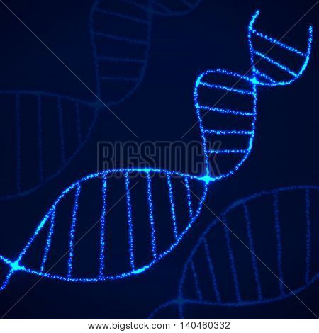 Abstract spiral of DNA neon, molecular chain