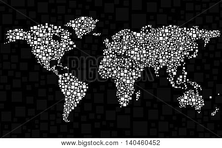 Abstract world map from squares, style background
