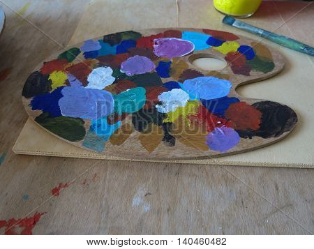 Mix of oil colours for painting on palette