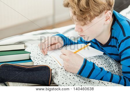 Young Teenage Boy Doing His Homework