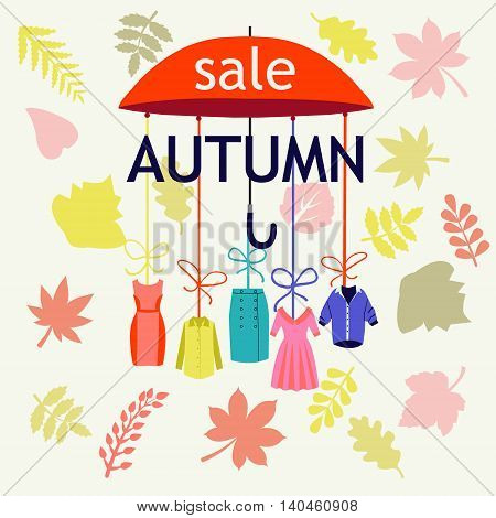 Vector background Autumn Sale. Background with Leaves -illustration