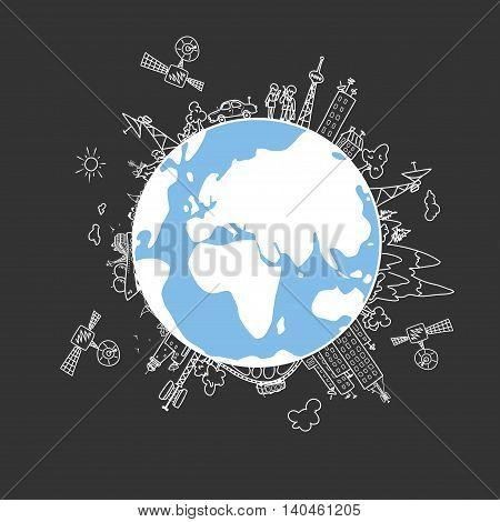 Global information network on the globe satellites antennas ,satellite antennas, repeaters