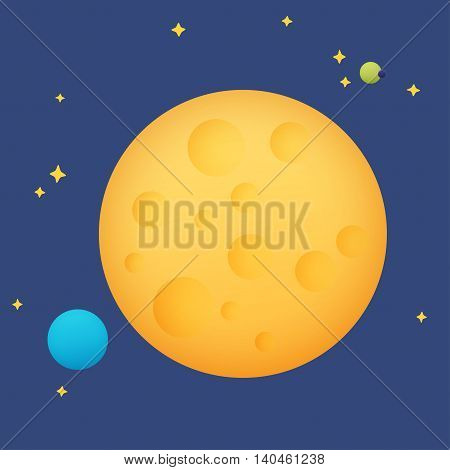 Moon in space among the stars and planets
