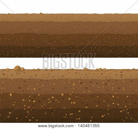 Underground layers of earth seamless ground surface design.