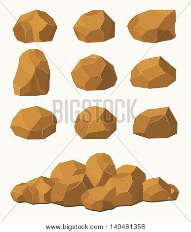 Stones and rocks brown stones boulders. Stone rocks elements of architecture and building.