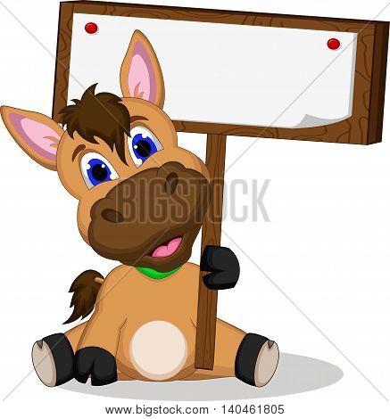 cute donkey cartoon holding a blank sign