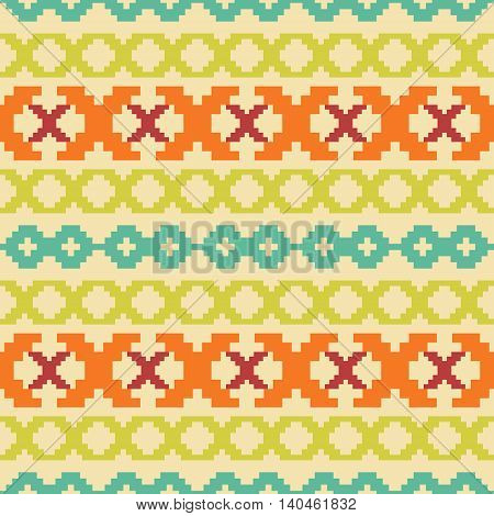 Seamless knitted retro pattern. Elegant geometric ornament of polygonal shapes arranged in horizontal rows. Beautiful graphic print in vintage colors. Vector illustration for fashion design