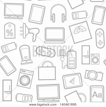 Gadgets and consumer electronics, white background, seamless linear pattern.  Vector white background with grey linear patterns gadgets and household appliances.