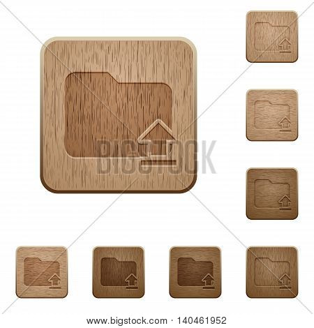 Set of carved wooden Folder upload buttons in 8 variations.