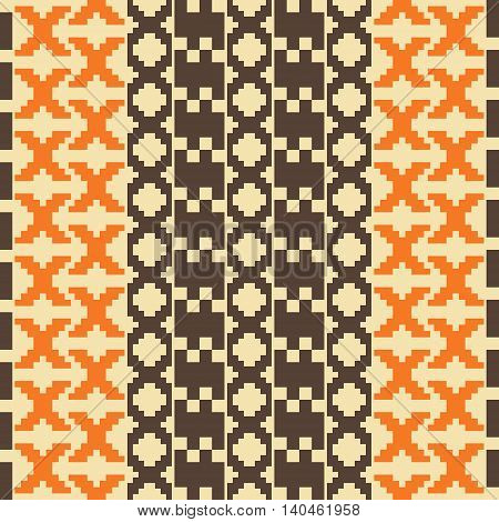 Seamless knitted pattern. Vertical stripes of polygonal shapes forming elegant geometric ornament. Orange, brown, sand colors. Vector illustration for fashion design