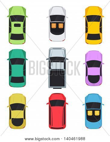 Cars top view convertible sedan pickup minivan.