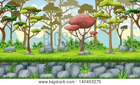 Seamless nature cartoon background vector illustration with separate layers