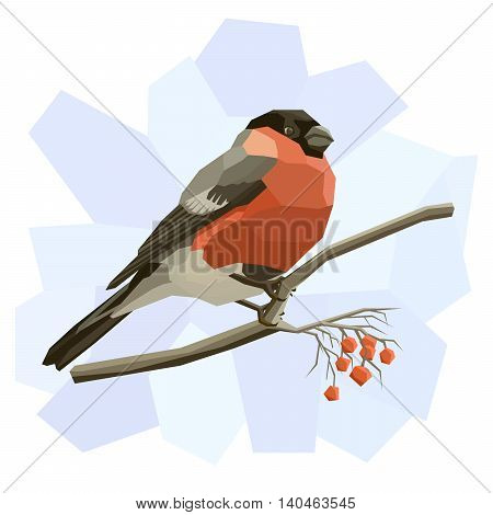 Vector simple illustration of bullfinch bird on tree branch in angular cartoon style.
