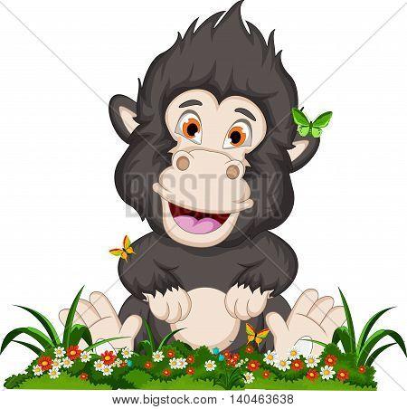 funny baby gorilla cartoon with flower garden